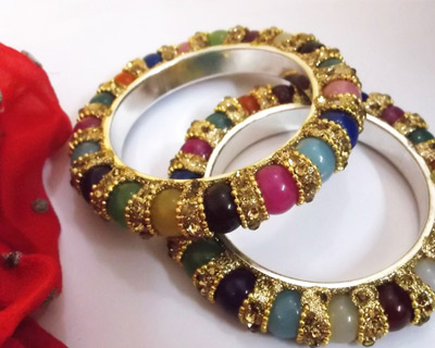 Indian-Handmade-Multicolour-Brass-Bangle