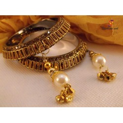 Kundan Moti Latkan - Brass Bangle Set (6 Set's Box)