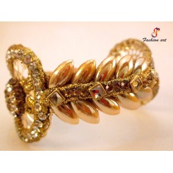 Leaf Kundan Brass Bangle Set (4 Set's Box)