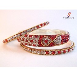 Sultan - Stoned Studded Brass Bangle (6 Set's Box)