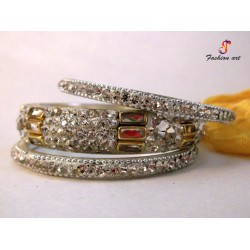 Zenab - Stoned Studded Brass Bangle (6 Set's Box)