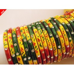 4-Line - Multicolour Painted Stone Studded Kada
