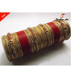 KRV 775 (RED) - Stone Work Metal Bangle Set