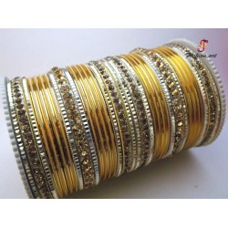 L.C.T- Stone Studded Metal Bangle (6 Set's Box)