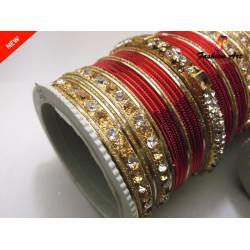 SPC Wedding A - Stone Studded Metal Bangle Set