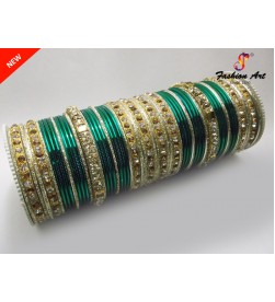 SPC Wedding B - Stone Studded Metal Bangle Set