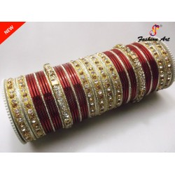 SPC Wedding C - Stone Studded Metal Bangle Set