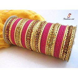 FA-20 Stone Studded Metal Bangle (6 Set's Box)