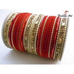 SPC-9878 - Velvet Mix Designer Metal Bangle (6 Set's Box )