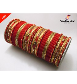 SPC DSG 2 - Thread Work Stone Studded Metal Bangle Set
